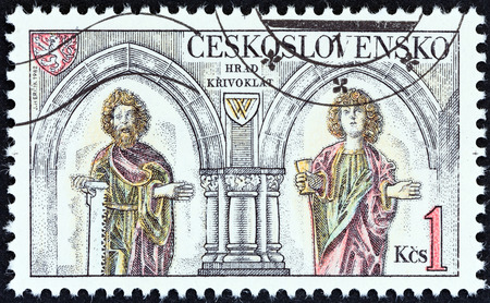 czechoslovakia: CZECHOSLOVAKIA - CIRCA 1982: A stamp printed in Czechoslovakia from the Castles  issue shows interior and sculptures at Krivoklat Castle, circa 1982.
