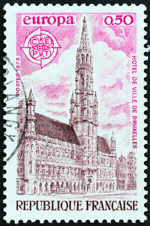 FRANCE - CIRCA 1973: A stamp printed in France from the Europa  issue shows Town Hall, Brussels, circa 1973.