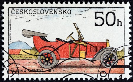 CZECHOSLOVAKIA - CIRCA 1988: A stamp printed in Czechoslovakia from the Historic Motor Cars  issue shows Laurin and Klement Car, 1914, circa 1988.