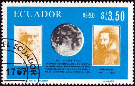 kepler: ECUADOR - CIRCA 1966: A stamp printed in Ecuador from the \Italian Achievements in Space Exploration \ issue shows Leonardo Da Vinci, Johannes Kepler and Moon, circa 1966.