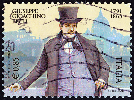 dialect: ITALY - CIRCA 2013: A stamp printed in Italy issued for the 150th anniversary of the death of Gioachino Belli, 1791-1863 shows poet Giuseppe Gioachino Belli, circa 2013.