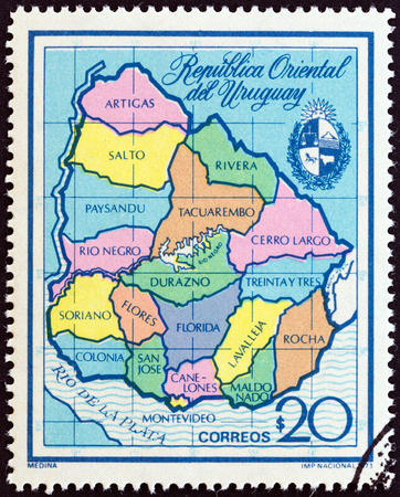 URUGUAY - CIRCA 1973: A stamp printed in Uruguay shows Departmental Map of Uruguay, circa 1973.