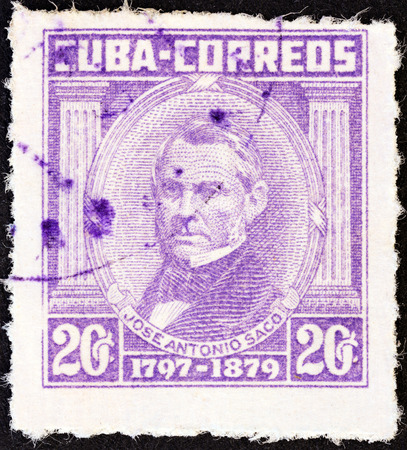 CUBA - CIRCA 1954: A stamp printed in Cuba from the Portraits  issue shows Jose Antonio Saco, circa 1954.