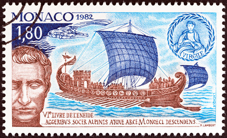MONACO - CIRCA 1982: A stamp printed in Monaco issued for the 2000th anniversary of the death of Virgil shows Julius Caesar in the Port of Monaco, circa 1982.