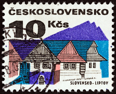 CZECHOSLOVAKIA - CIRCA 1972: A stamp printed in Czechoslovakia from the Regional Buildings issue shows Wooden houses, Liptov, circa 1972.