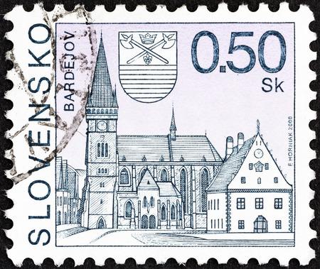 stempel: SLOVAKIA - CIRCA 2000: A stamp printed in Slovakia shows Bardejov town, circa 2000.