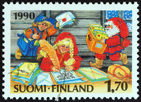 FINLAND - CIRCA 1990: A stamp printed in Finland from the Christmas  issue shows Post office of Santa Claus, circa 1990.