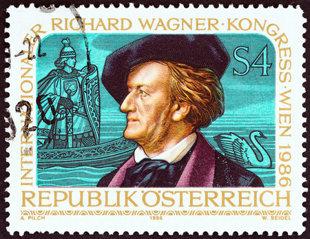 wagner: AUSTRIA - CIRCA 1986: A stamp printed in Austria issued for the International Richard Wagner Congress, Vienna shows Wagner and Scene from Opera Lohengrin, circa 1986.