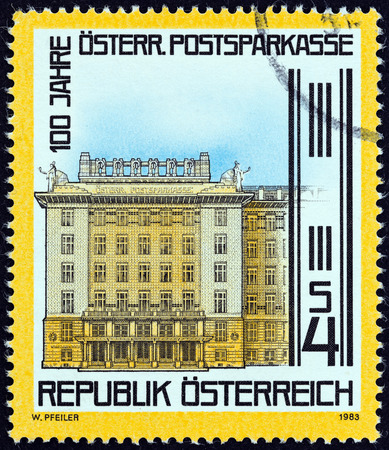 centenary: AUSTRIA - CIRCA 1983: A stamp printed in Austria issued for the centenary of Postal Savings Bank shows Bank, Vienna, circa 1983. Editorial