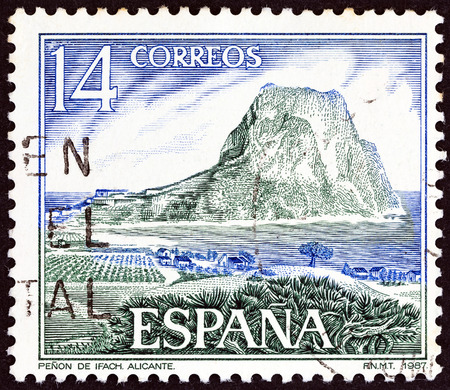 SPAIN - CIRCA 1987: A stamp printed in Spain shows Ifach Rock, Calpe, Alicante, circa 1987.
