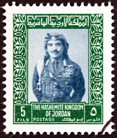 king hussein: JORDAN - CIRCA 1975: A stamp printed in Jordan shows King Hussein, circa 1975.