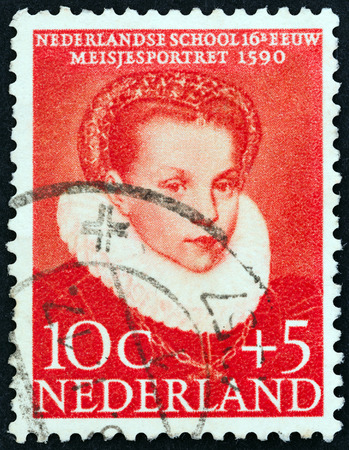 dutch girl: NETHERLANDS - CIRCA 1956: A stamp printed in the Netherlands from the Child Welfare Fund. 16th-century Dutch Paintings  issue shows Portrait of a Girl, circa 1956.