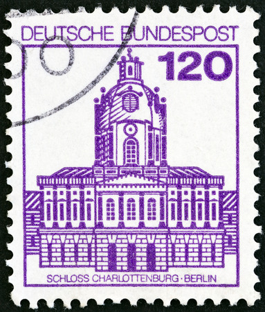 bundespost: GERMANY - CIRCA 1982: A stamp printed in Germany from the Palaces and Castles issue shows Charlottenburg, Berlin, circa 1982. Editorial