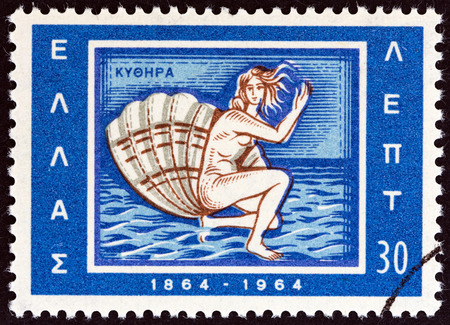 estampilla: GREECE - CIRCA 1964: A stamp printed in Greece from the Centenary of Union of Ionian Islands with Greece issue shows birth of Aphrodite emblem of Kythera, circa 1964.