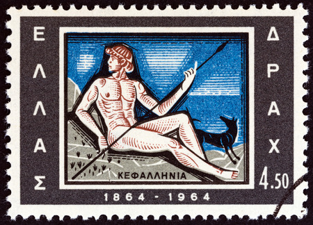 GREECE - CIRCA 1964: A stamp printed in Greece from the Centenary of Union of Ionian Islands with Greece issue shows Cephalus, dog and spear emblem of Cephalonia, circa 1964.