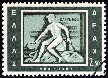 estampilla: GREECE - CIRCA 1964: A stamp printed in Greece from the Centenary of Union of Ionian Islands with Greece issue shows Zakynthos emblem of Zakynthos, circa 1964. Editorial