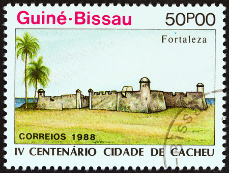GUINEA-BISSAU - CIRCA 1989: A stamp printed in Guinea-Bissau from the 400th Anniversary of Cacheu  issue shows fort, circa 1989.