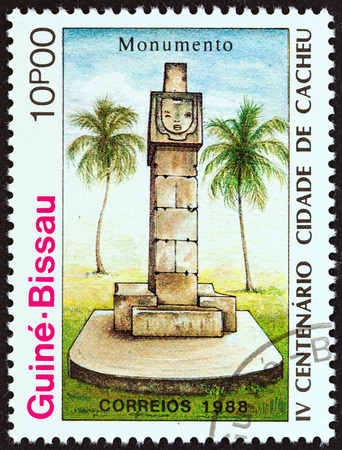 GUINEA-BISSAU - CIRCA 1989: A stamp printed in Guinea-Bissau from the \\\400th Anniversary of Cacheu \\\ issue shows monument, circa 1989. Editorial