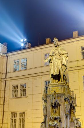 Statue of Charles IV at night, Prague, Czech Republic