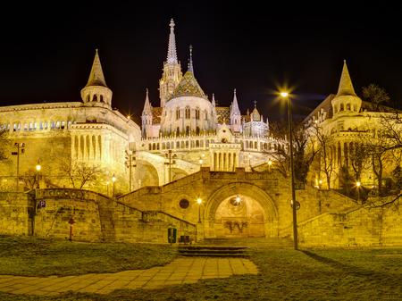Fishermans bastion and Matthias Church night view, Budapest, Hungary
