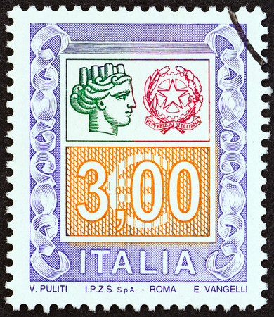 turreted: ITALY - CIRCA 2004: A stamp printed in Italy shows ornaments and Italy turreted, circa 2004. Editorial