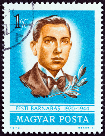 magyar posta: HUNGARY - CIRCA 1973: A stamp printed in Hungary issued for the 30th death anniversary of Barnabas Pesti shows Barnabas Pesti (patriot), circa 1973.
