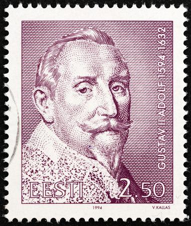 sello: ESTONIA - CIRCA 1994: A stamp printed in Estonia issued for the 400th birth anniversary of King Gustav II Adolf of Sweden shows Gustav II Adolf, circa 1994.