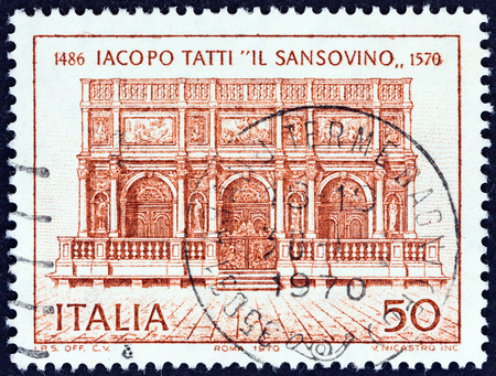 ITALY - CIRCA 1970: A stamp printed in Italy issued for the 400th death anniversary of Jacopo Tatti, the Sansovino (architect) shows Loggia of Campanile, St. Mark\\\\