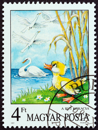hans: HUNGARY - CIRCA 1987: A stamp printed in Hungary from the \\\Fairy Tales \\\ issue shows The Ugly Duckling (Hans Christian Andersen), circa 1987.