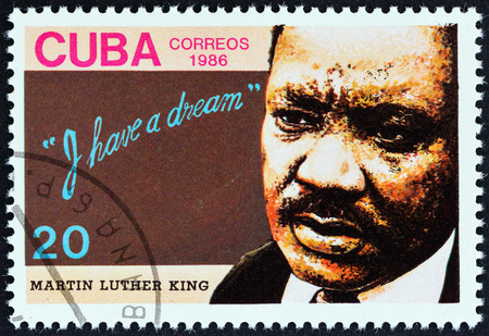 civil rights: CUBA - CIRCA 1986: A stamp printed in Cuba issued for the 18th death anniversary of Martin Luther King shows human rights campaigner Martin Luther King, circa 1986. Editorial