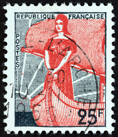 marianne: FRANCE - CIRCA 1959: A stamp printed in France shows Marianne in Ship of State, circa 1959. Editorial