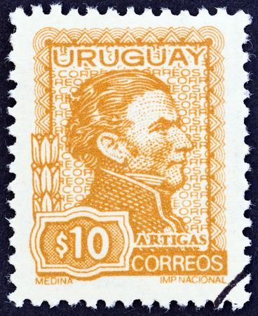 artigas: URUGUAY - CIRCA 1972: A stamp printed in Uruguay shows General Jose Artigas, circa 1972.