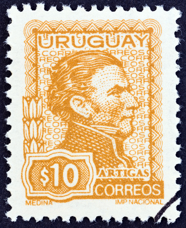 URUGUAY - CIRCA 1972: A stamp printed in Uruguay shows General Jose Artigas, circa 1972.