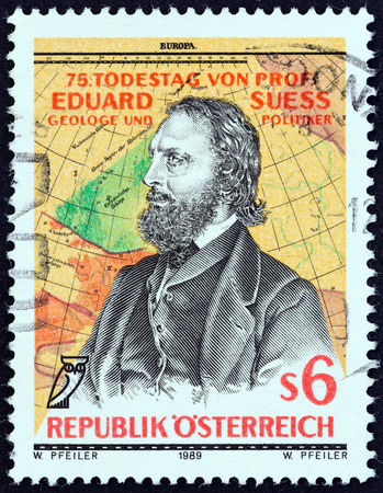 eduard: AUSTRIA - CIRCA 1989: A stamp printed in Austria issued for the 75th death anniversary of Eduard Suess geologist and politician shows Suess after Josef Kriehuber and Map, circa 1989. Editorial