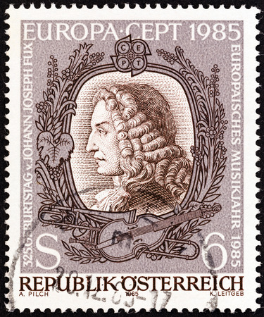 theorist: AUSTRIA - CIRCA 1985: A stamp printed in Austria from the  issue shows Johann Joseph Fux (composer), circa 1985. Editorial