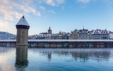 Chapel Bridge covered with snow in winter, Lucerne, Switzerland