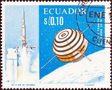 ECUADOR - CIRCA 1966: A stamp printed in Ecuador shows the first French satellite A-1 (Asterix), circa 1966. Stock Photo - 35729150