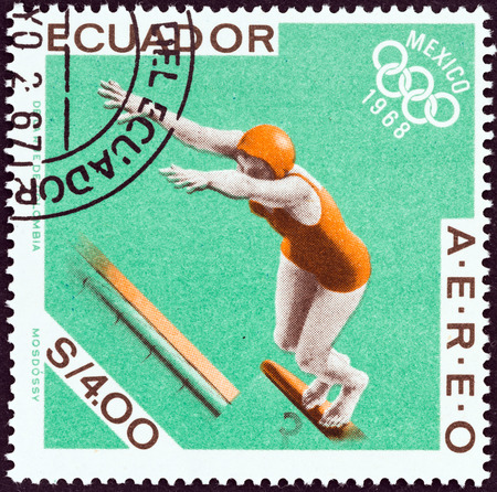 summer olympics: ECUADOR - CIRCA 1968: A stamp printed in Ecuador from the 1968 Summer Olympics, Mexico issue shows Swimming, circa 1968.