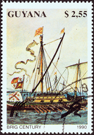 co operative: GUYANA - CIRCA 1990: A stamp printed in Guyana from the Sailing Ships issue shows Brig Century, circa 1990. Editorial