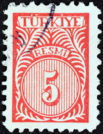 stempeln: TURKEY - CIRCA 1959: A stamp printed in Turkey shows numeric value, circa 1959.