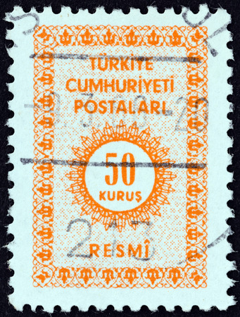stempeln: TURKEY - CIRCA 1965: A stamp printed in Turkey shows numeric value, circa 1965. Editorial