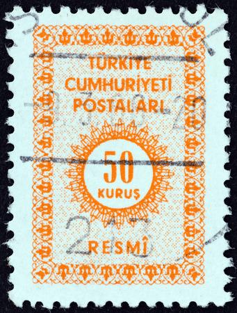 definitive: TURQU�A - CIRCA 1965: Un sello impreso en Turqu�a muestra el valor num�rico, en torno a 1965. Editorial