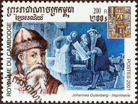 gutenberg: CAMBODIA - CIRCA 2001: A stamp printed in Cambodia from the \Millennium \ issue shows Johannes Gutenberg, printers, circa 2001.