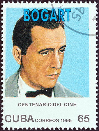 sello: CUBA - CIRCA 1995: A stamp printed in Cuba from the Centenary of Motion Pictures. Designs showing film stars issue shows Humphrey Bogart, circa 1995.
