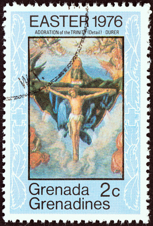 adoration: GRENADINES OF GRENADA - CIRCA 1976: A stamp printed in Grenada from the \\\Easter \\\ issue shows The Adoration of the Trinity (Durer), circa 1976. Editorial