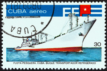 fishing fleet: CUBA - CIRCA 1978: A stamp printed in Cuba from the \Fishing Fleet \ issue shows Fish factory ship \ Oceano Atlantico \, circa 1978. Editorial