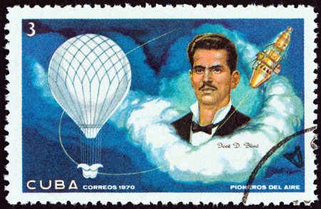 pioneers: CUBA - CIRCA 1970: A stamp printed in Cuba from the \\\Aviation Pioneers \\\ issue shows Jose Domingo Blino, Balloon and Spacecraft, circa 1970.