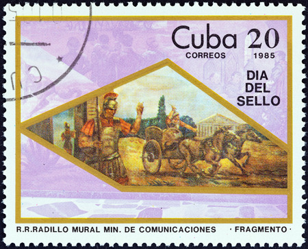 estampilla: CUBA - CIRCA 1985: A stamp printed in Cuba from the \\\Stamp Day \\\ issue shows Roman soldier and chariot, circa 1985.
