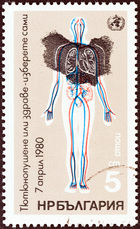 obscured: BULGARIA - CIRCA 1980: A stamp printed in Bulgaria from the World Health Day. Anti-smoking Campaign  issue shows diagram of blood circulation and lungs obscured by smoke, circa 1980.
