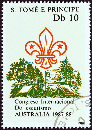 pitched: SAO TOME AND PRINCIPE - CIRCA 1988: A stamp printed in Sao Tome and Principe issued for the International Boy Scout Jamboree, Australia, 1987-88 shows Scout emblem, pitched tents, flag, circa 1988. Editorial